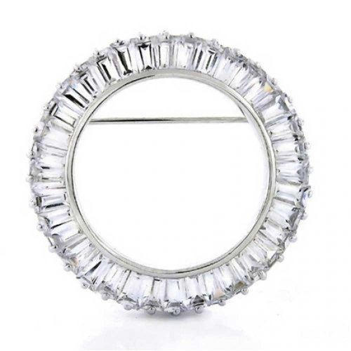 Sterling Silver Baguette CZ Circle of Life Pin Brooch