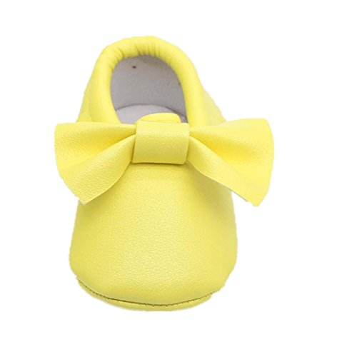 Voberry® Baby Boys Girls Soft Soled Tassel Bowknots Crib Shoes PU Moccasins ( 4~8 Month, (Adorable Flat)