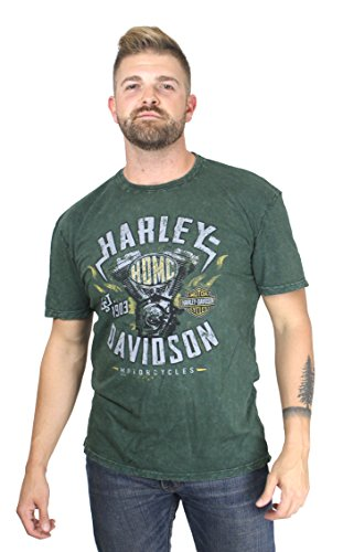 Harley-Davidson 5J31-HE5A Mens Street Machine Engine Flames Mineral Wash Green Short Sleeve (Large)