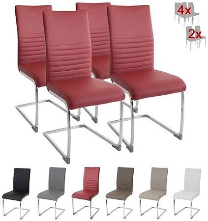 Albatros Sedia a sbalzo BURANO Set di 4 sedie, Rosso, SGS Testato