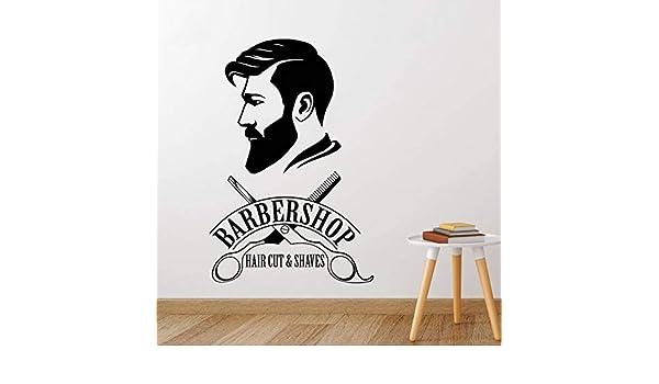 zxddzl Logotipo de barbería Etiqueta engomada de Vinilo Peluquería ...