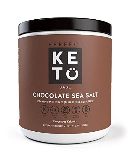 Perfect Keto Base Exogenous Ketone Supplement - Beta-Hydroxybutyrate (BHB) Salts Developed to Burn Fat, Increase Energy and Kickstart Ketosis. Chocolate Sea Salt Flavor (211g)