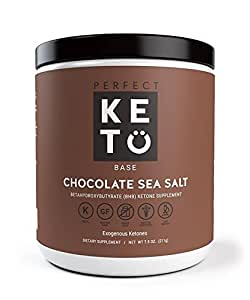 Perfect Keto Base Exogenous Ketone Supplement - Beta-Hydroxybutyrate (BHB) Salts Developed to Burn Fat, Increase Energy and Kickstart Ketosis. Chocolate Sea Salt Flavor (211g)