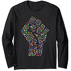 Unisex Long Sleeve Pride Shirt LGBTQ Resist Fist Gay Pride March 2XL Black