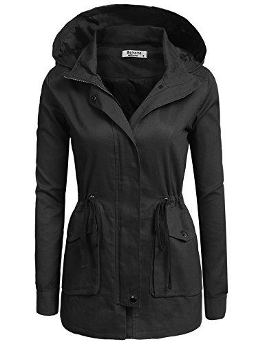 Beyove Women's Lightweight Packable Outdoor Coat Windproof Hoodies Jacket black M…