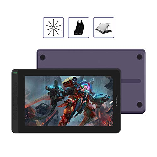 2020 Huion Kamvas 13 Android Support Drawing Tablet Monitor with Full Laminated Screen Battery-Free Stylus 8192 Pressure Sensitivity Tilt 8 Express Keys Adjustable Stand (Purple with Stand)