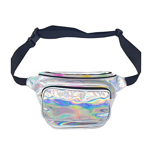 CHAOM Women Laser Waist Bag Waterproof Shiny Neon Fanny Bag Bum Bag Beach Purse (silver)