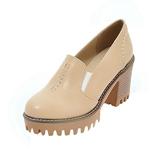 Amoonyfashion Vrouwen Stevige Pu Hoge Hakken Ronde Teen Pull-on Pumps-schoenen Abrikoos