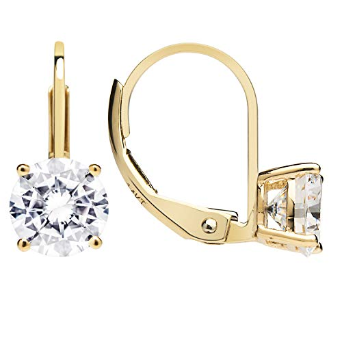 14K Solid Yellow Gold Earrings | Round Cut Cubic Zirconia | Leverback Drop Dangle Basket Setting | 1.68 CTW | With Gift Box