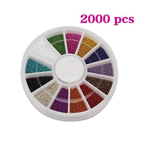 Nails 2000 Pc - Kamas 2000 Pcs Nail Art Acrylic Tips Decoration Wheel Multicolor Manicure Steel Ball Beads NShopping - (Color: Random Color)