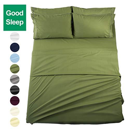 EASELAND 6-Pieces Queen Size Bed Sheets Set 1800 Series Microfiber-Wrinkle & Fade Resistant,Deep Pocket,Hypoallergenic Bedding Set,Queen,Green