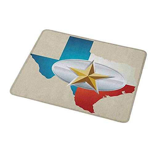 Customized Gaming Mouse Texas Star,Cowboy Belt Buckle Star Design with Texas Map Southwestern Parts of America,Non-Slip Personalized Rectangle Mouse pad 9.8