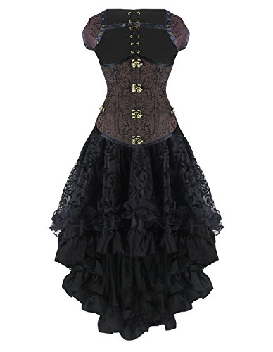 Burvogue Women's Steampunk Costume, Fancy Lace in Black