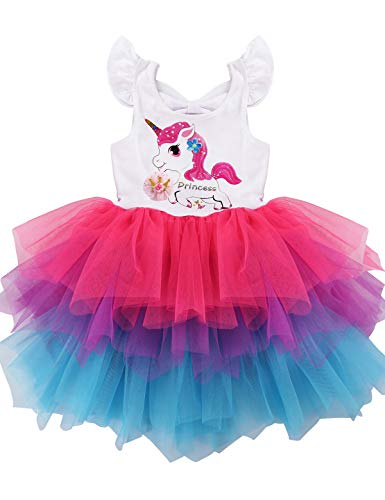 PrinceSasa Elegant Girl Dress Unicorn Rainbow Party White Cupcake Wing Sleeve Crown Backless Summer Dresses for Princess Girls Birthday Outfits Clothes Gifts,A16,7-8 Years(Size 140)