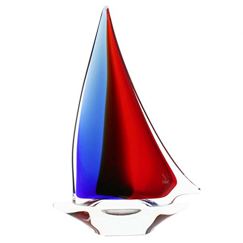 - GlassOfVenice Murano Glass Large Sailboat - Red Blue Amber