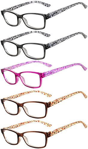 Readers 5 Pack of Elegant Womens Reading Glasses with Beautiful Patterns for Ladies Deluxe Spring Hinge Stylish Look 180 Day Guarantee - Cheap Online Glasses