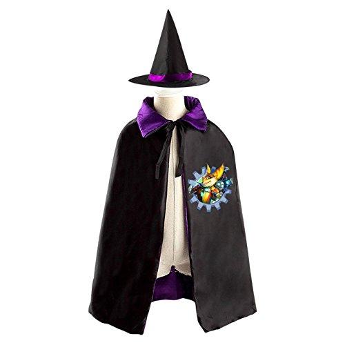 Ratchet Clank Costume (Ratchet & Clank Halloween Cloak Halloween Costume Children Cloak Cape Wizard Hat Cosplay For Kids Boys Girls purple)