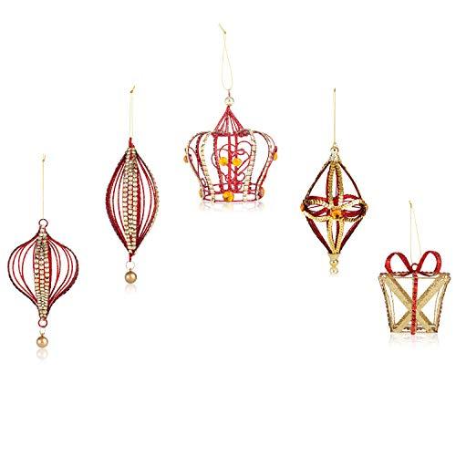 Santas Gems Christmas Decorations Tree Ornaments Set Red and Gold in Keepsake Box