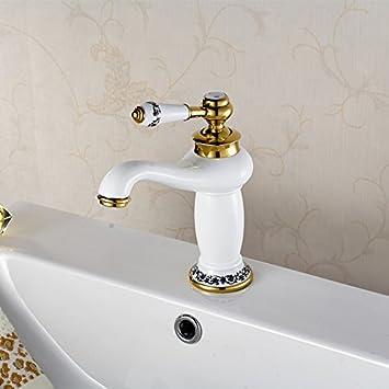 SADASD Badezimmer Waschbecken Wasserhahn European Copper Alle Gold  Armaturen Badezimmer Weiß Unter Waschbecken Armatur Waschtisch Armatur
