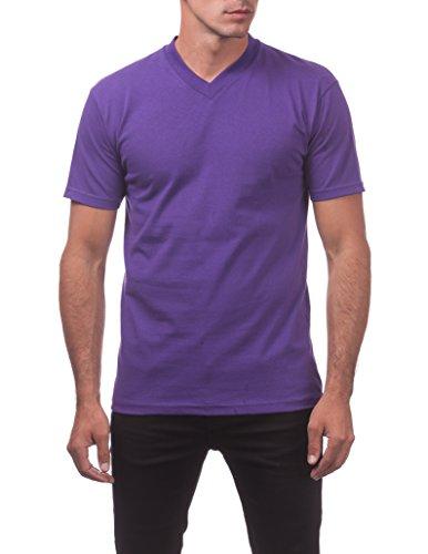 (Pro Club Men's Comfort Short Sleeve V-Neck T-Shirt, Purple, Large)