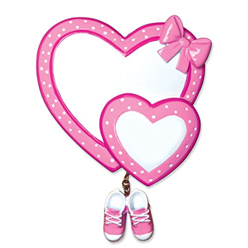 Personalized Baby Heart with Booties Christmas Tree Ornament 2019 - Polka Dot Pink Bow Dangle Shoes 1st Girl's Love New Mom Shower Gift Grand-Daughter Kid Nursery Year - Free Customization (Pink) ()