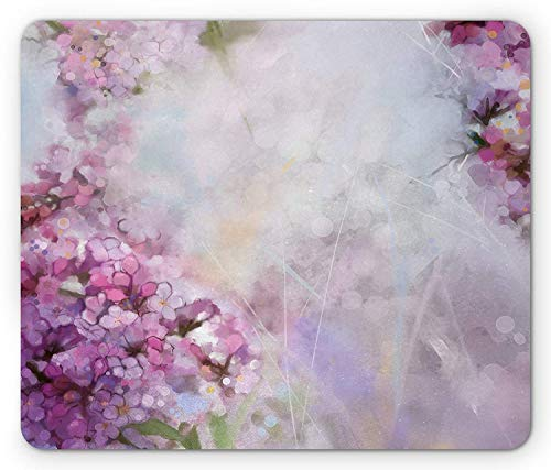 (Flower Mouse Pad, Roman Hyacinth Petals and The Apricot Blooms in Grunge Colors Work of Art Print, Standard Size Rectangle Non-Slip Rubber Mousepad, Lilac White,8.66 x 7.08 x 0.118 Inches)