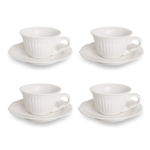 Embossed Stripe Tea Cup and Saucer Set 5-Ounce, White Porcelain Coffee Cup Set with Saucer, Set of 4