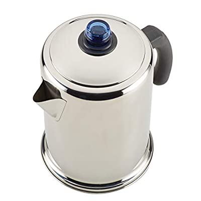 Farberware 47794 12-Cup Stovetop Percolator, Stainless Steel with Glass Blue Knob