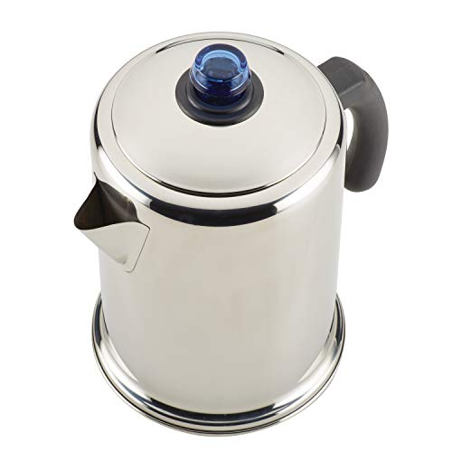 Farberware 47794 12-Cup Stovetop Stainless Steel Percolator, Glass Blue Knob