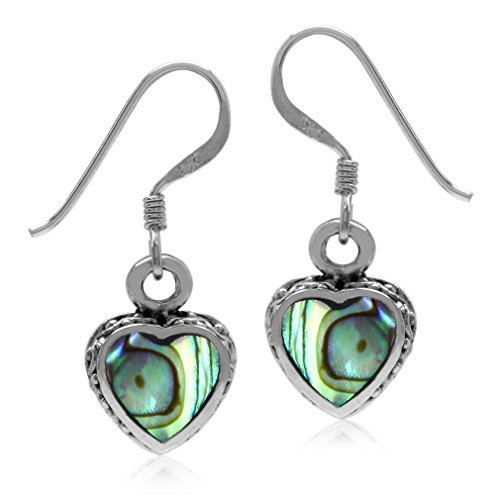 Abalone Heart Earrings - Heart Shape Abalone/Paua Shell Inlay Oxidized Finish 925 Sterling Silver Dangle Hook Earrings