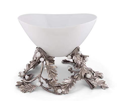 (Vagabond House Pewter Oak Leaf Acorn Centerpiece Porcelain Bowl 16'' Long x 18'' Wide x 14'' Tall)