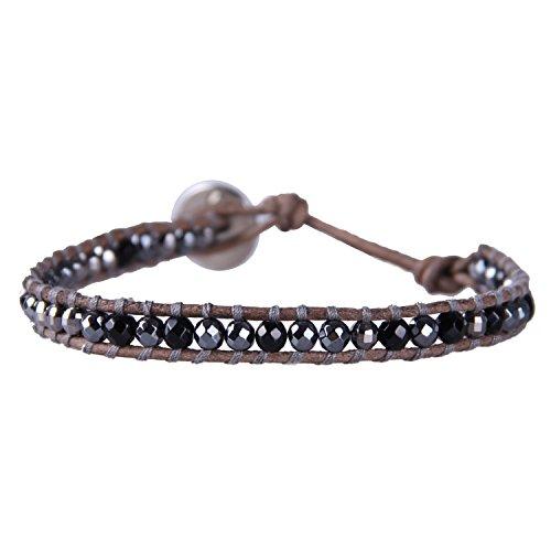 Bracelet Handmade Black Onyx & Gray Hematite Beads on Brown Leather for Women Mens ()