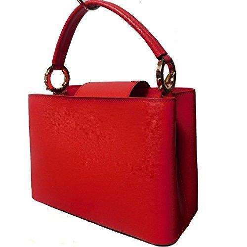 Borsa a mano in vera pelle Saffiano colore rosso made in Italy