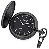 Speidel Classic Brushed Satin Black Engravable Pocket Watch with 14'' Chain, Black Dial, Date Window, and Seconds Sub-Dial
