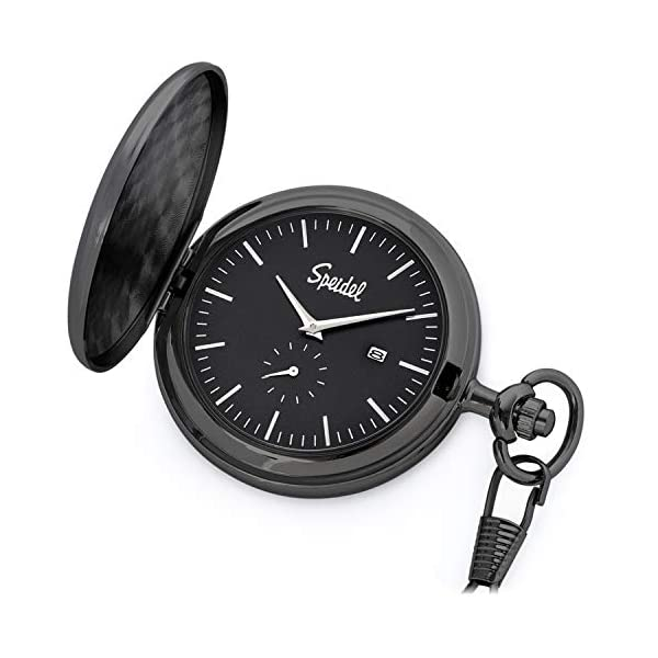 Speidel Classic Brushed Engravable Pocket Watch with 14″ Chain, Date Window, Seconds Sub-Dial and Luminous Hands