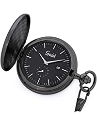 "Classic Brushed Satin Black Engravable Pocket Watch with 14"" Chain, Black Dial, Date Window, and Seconds Sub-Dial"