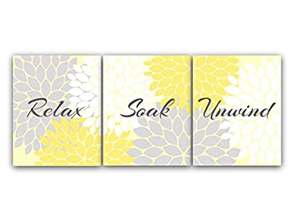 Amazon.com: Relax Soak Unwind, Bathroom Wall Art, Yellow and Gray ...