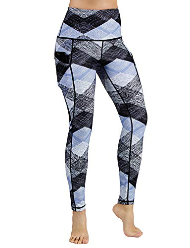 Out Pocket Printed Yoga Pants Tummy Control Workout Running 4 Way Stretch Yoga Leggings,SketchedChevronSkyBlue,Large ()