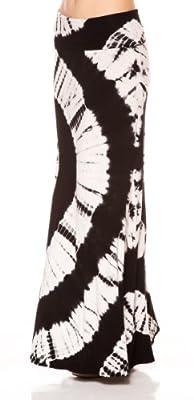 A.S Tie Dye Big Circle Lovely Drape Fold Over Waist Maxi Long Skirt