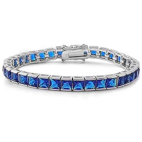 Blue Sapphire Square Bracelet (Solitaire Tennis 7