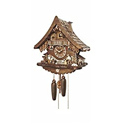 Cuckoo Clock Black Forest house with moving wood chopper and beer drinker