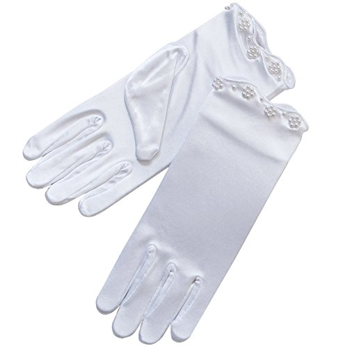 ZaZa Bridal Stretch Satin Gloves for Girl w/Scalloped Trim & Pearl Accents-Girl's Size Medium (8-12yrs)/White