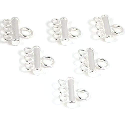 (6 Sterling Silver 3 Strand Pearl Bead Necklace Parts)