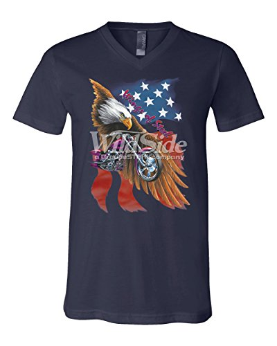 T-shirt Wings Steel (Wings of Steel V-Neck T-Shirt Route 66 Biker Flag Bald Eagle Tee Navy Blue M)