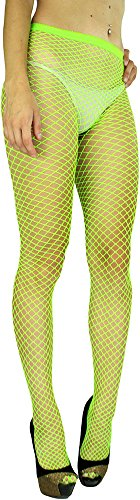 ToBeInStyle Women's Seamless Diamond Net Spandex Nylon Blend Pantyhose - Neon Green - One Size Regular -