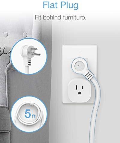 Power Strip 3 USB 3 Outlet, Desktop Charging Station 5 ft Flat Plug Extension Cord for Cruise Ship Accessories Dorm Room Plug Extender – White 41245VhhL3L