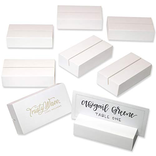 Place Card Holders, Table Numbers / Sign Holder for Wedding, Christmas / Greeting Card Display Stands | Solid Wood Set of 8 - For Name Tags, Pictures, Reserved Signs, Food Labels, Postcards, Menus Etc (Stands Card Greeting)