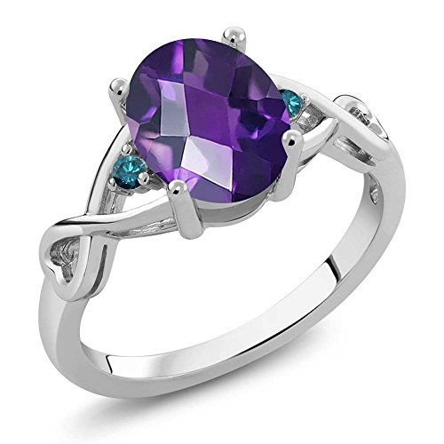 1.56 Ct Oval Checkerboard Purple Amethyst Blue Diamond 925 Sterling Silver Ring