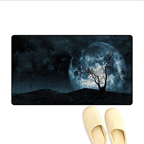 Bath Mat Night Moon Sky with Tree Silhouette Gothic Halloween Colors Scary Artsy Background Door Mat Indoors Slate Blue -