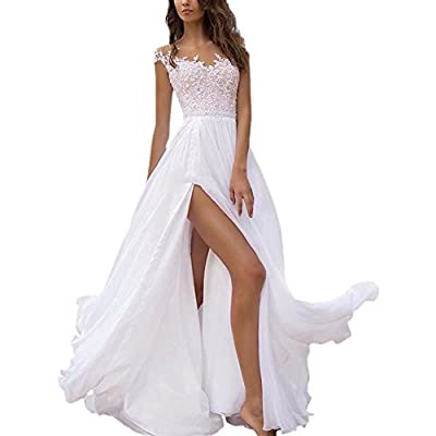 Holygift Women's A-Line Double V Neck Chiffon Lace Cap Sleeves Beach Wedding Dresses Bridal Gown